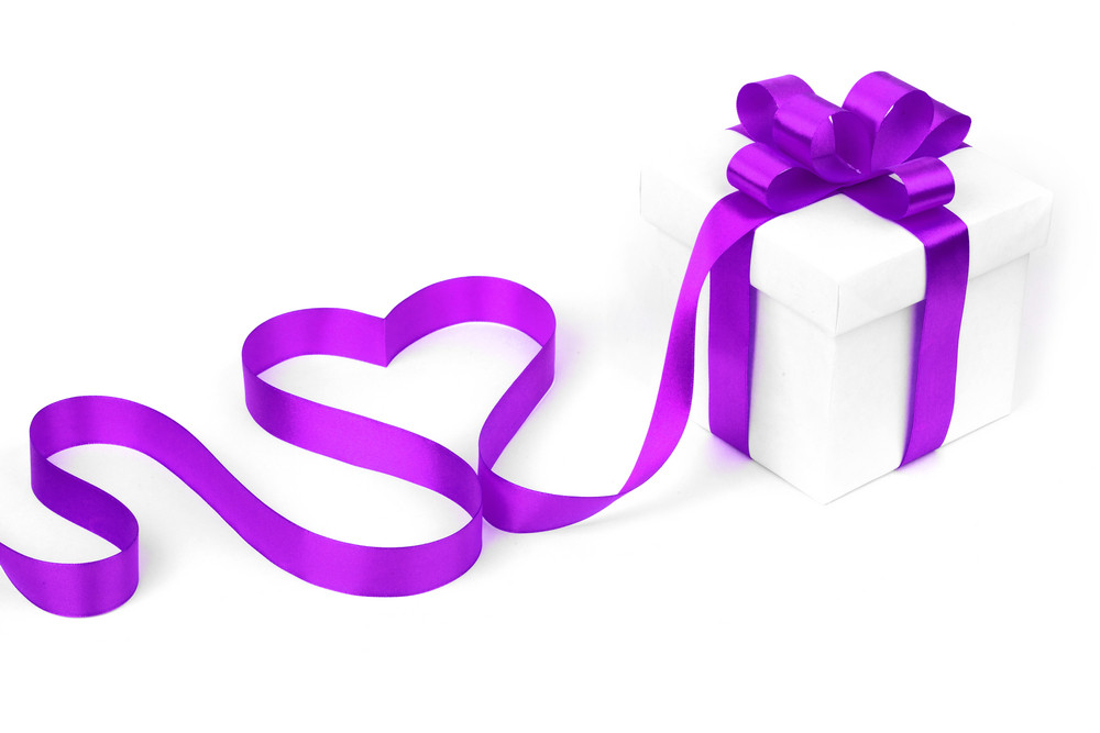 Stylized valentine heart made from purple bow