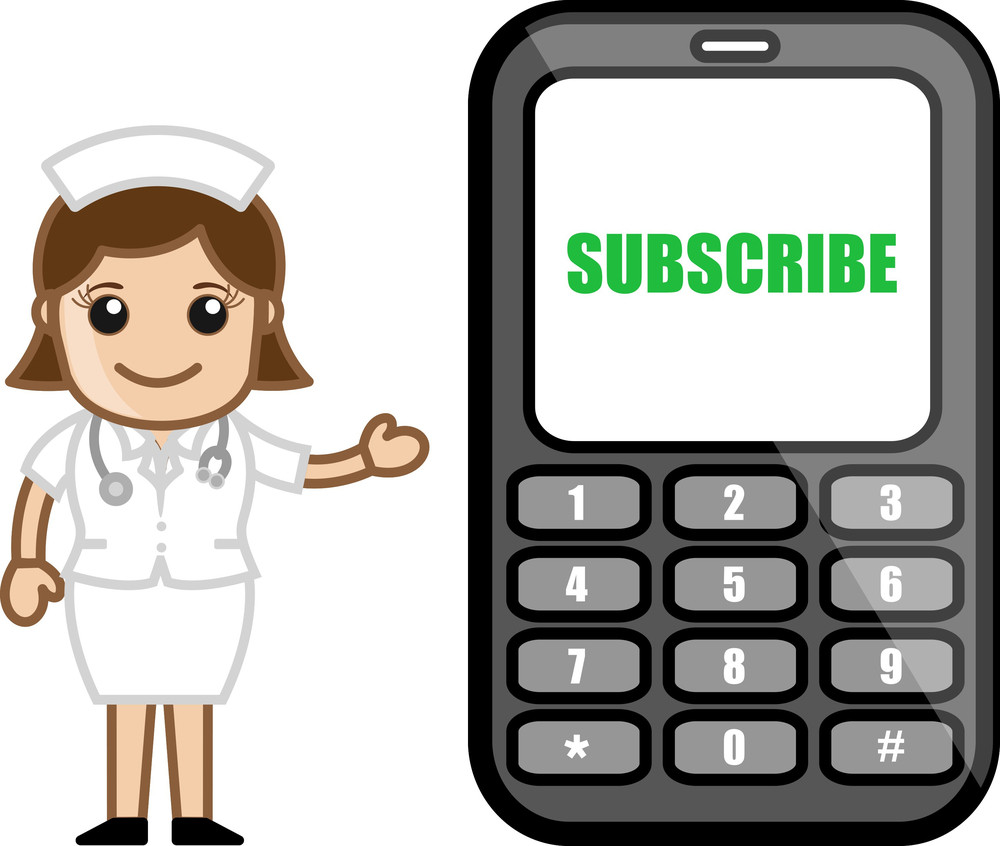 Subscribe Mobile Sms Free - Medical Cartoon Vector Character