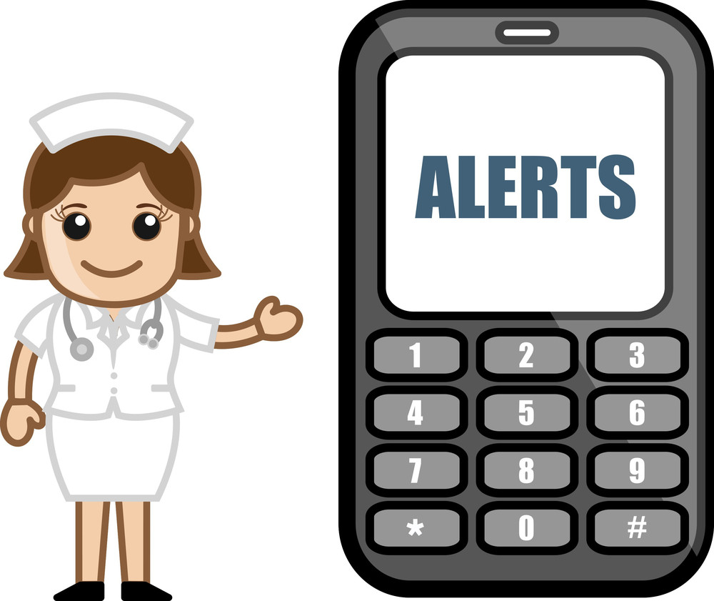 Subscribe To Sms Alerts - Medical Cartoon Vector Character
