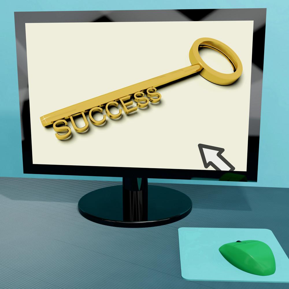 Success Key On Computer Shows Business Achievement Online