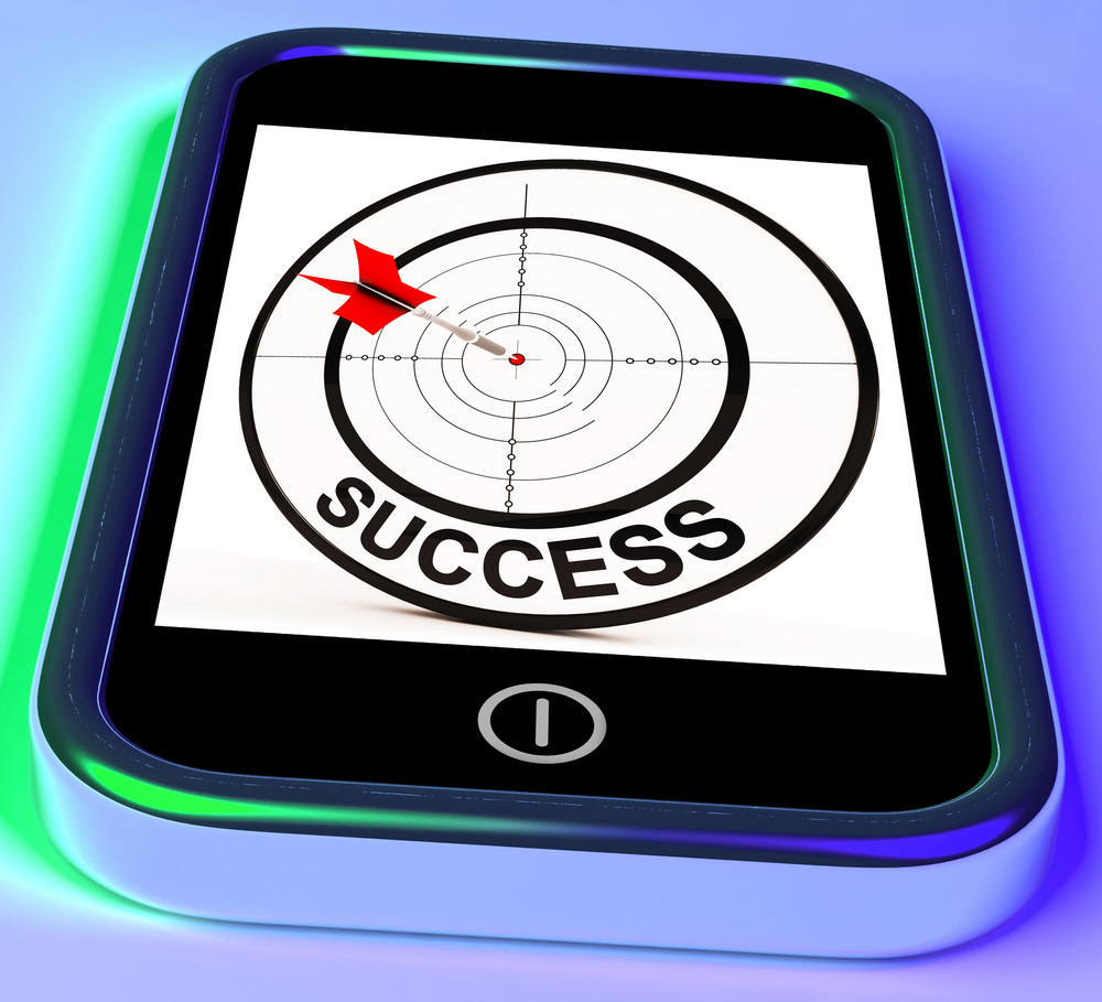 Success On Smartphone Showing Aimed Improvement