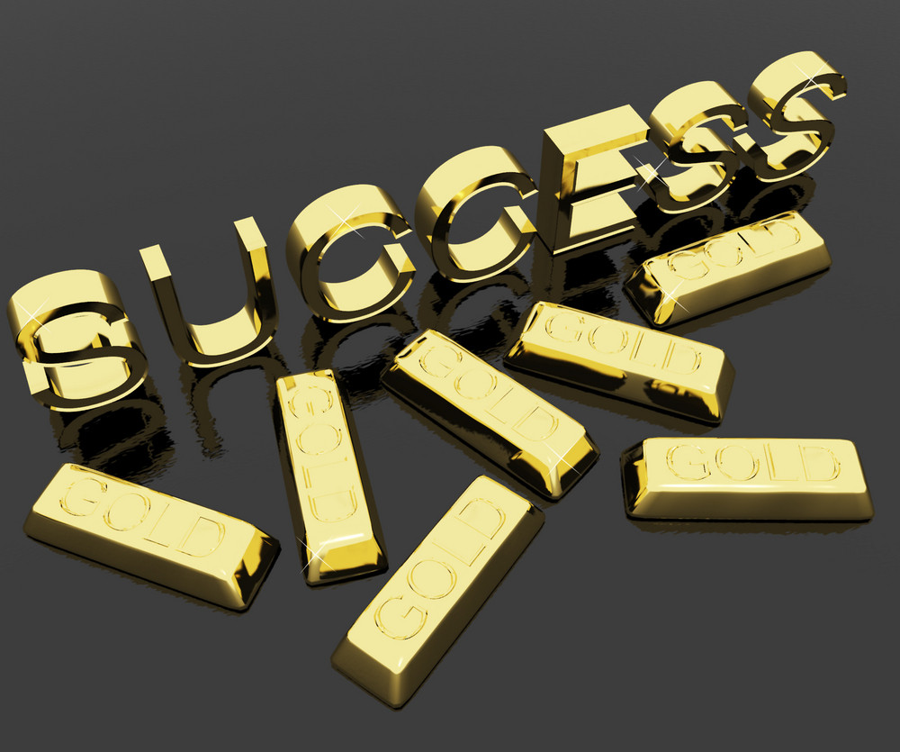 Success Text And Gold Bars As Symbol Of Winning And Victory