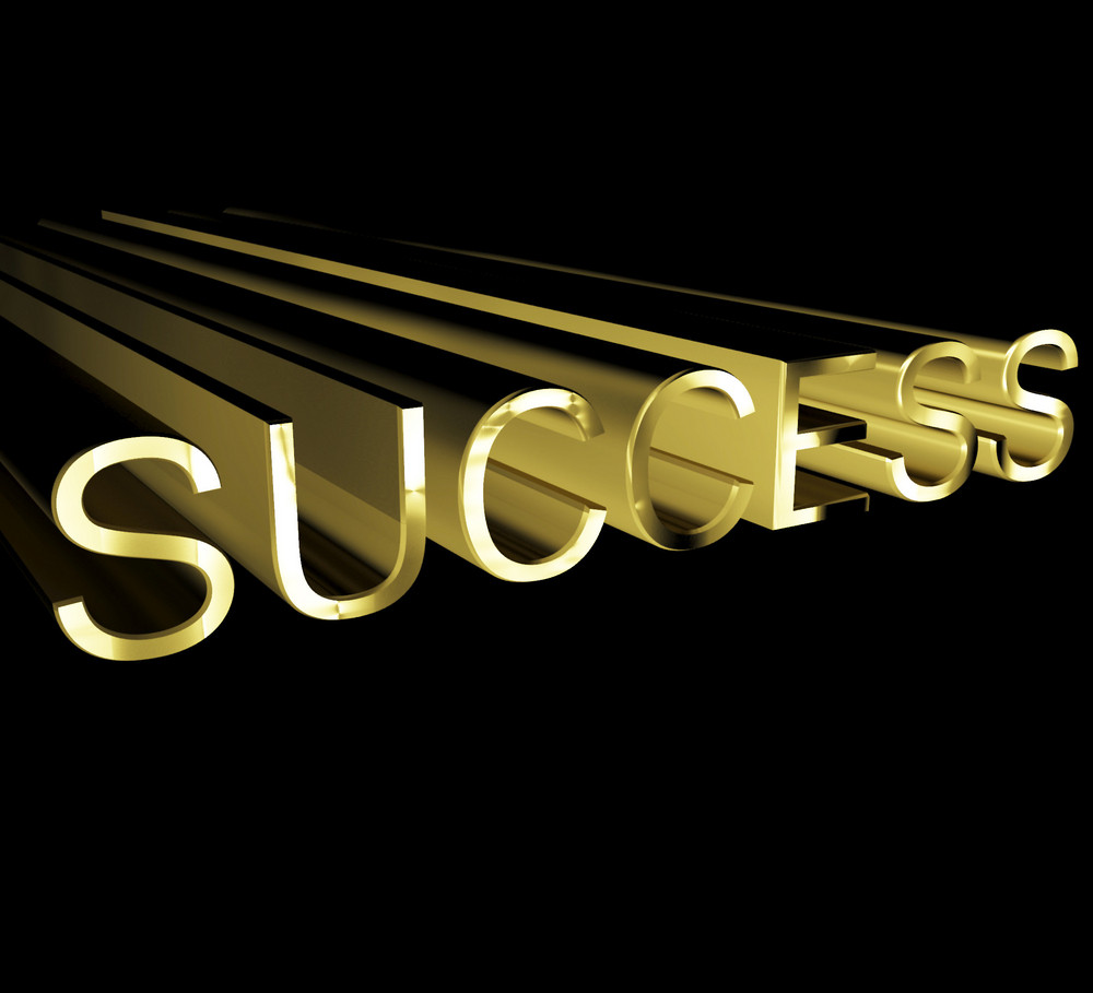 Success Text In Gold And 3d