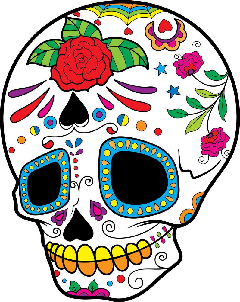 Sugar Skull Vector Element With Flower