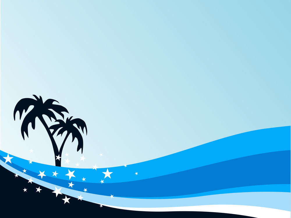Summer Background With Palm Tree And Blue Wave