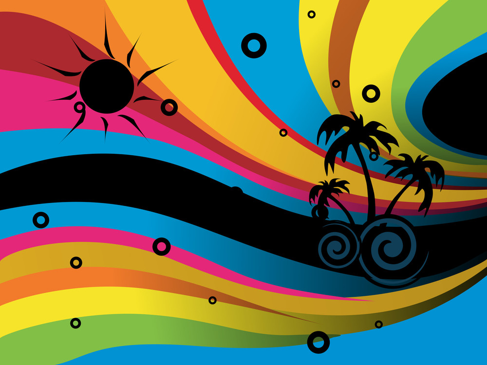 Summer Background With Rainbow Waves And Stars