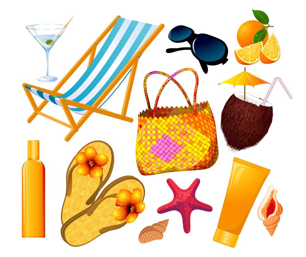 Summer Beach Vector Design Elements Set.