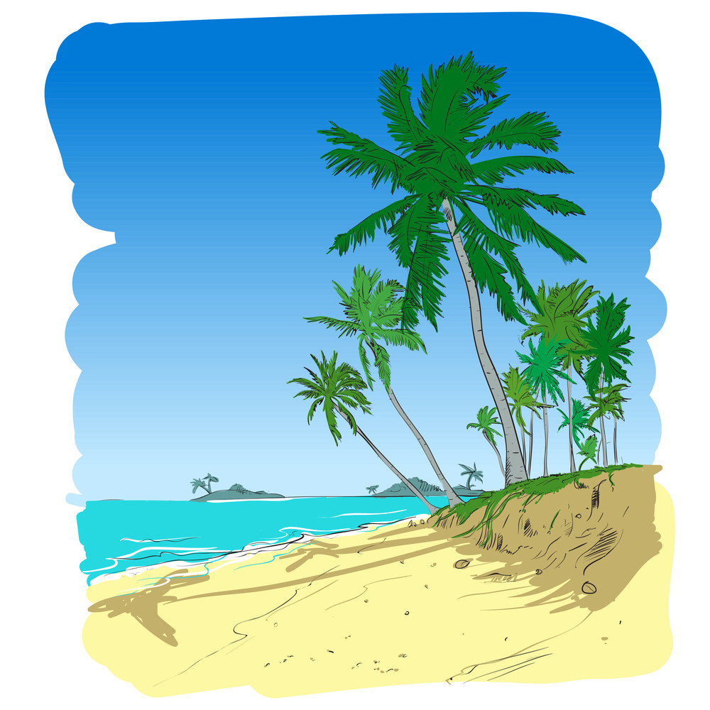 Summer Beach With Palm Trees In Sketch-style. Vector Illustration.