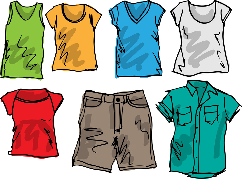 Summer Clothing Sketch Collection. Vector Illustration