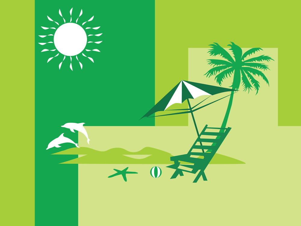 Summer Holiday With Palm Tree And Parasol On The Beach Series_2