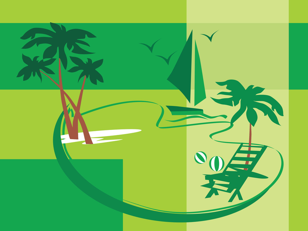 Summer Holiday With Palm Tree And Parasol On The Beach Series_4