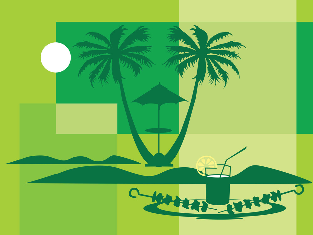 Summer Holiday With Palm Tree And Parasol On The Beach Series_8