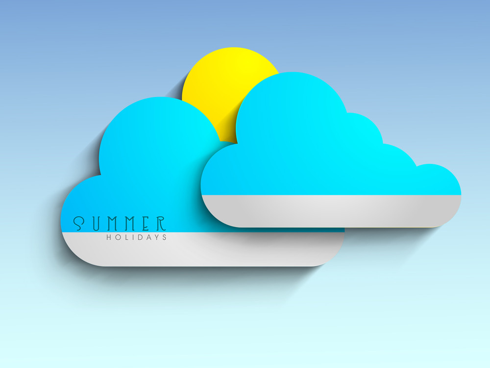 Summer Holidays Concept With Yellow Sun And Blue Clouds .