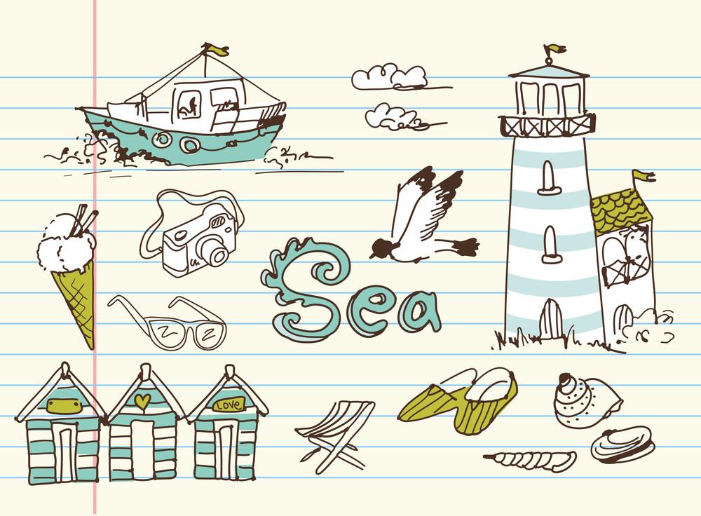 Summer Holidays Doodles! Vector Illustration.