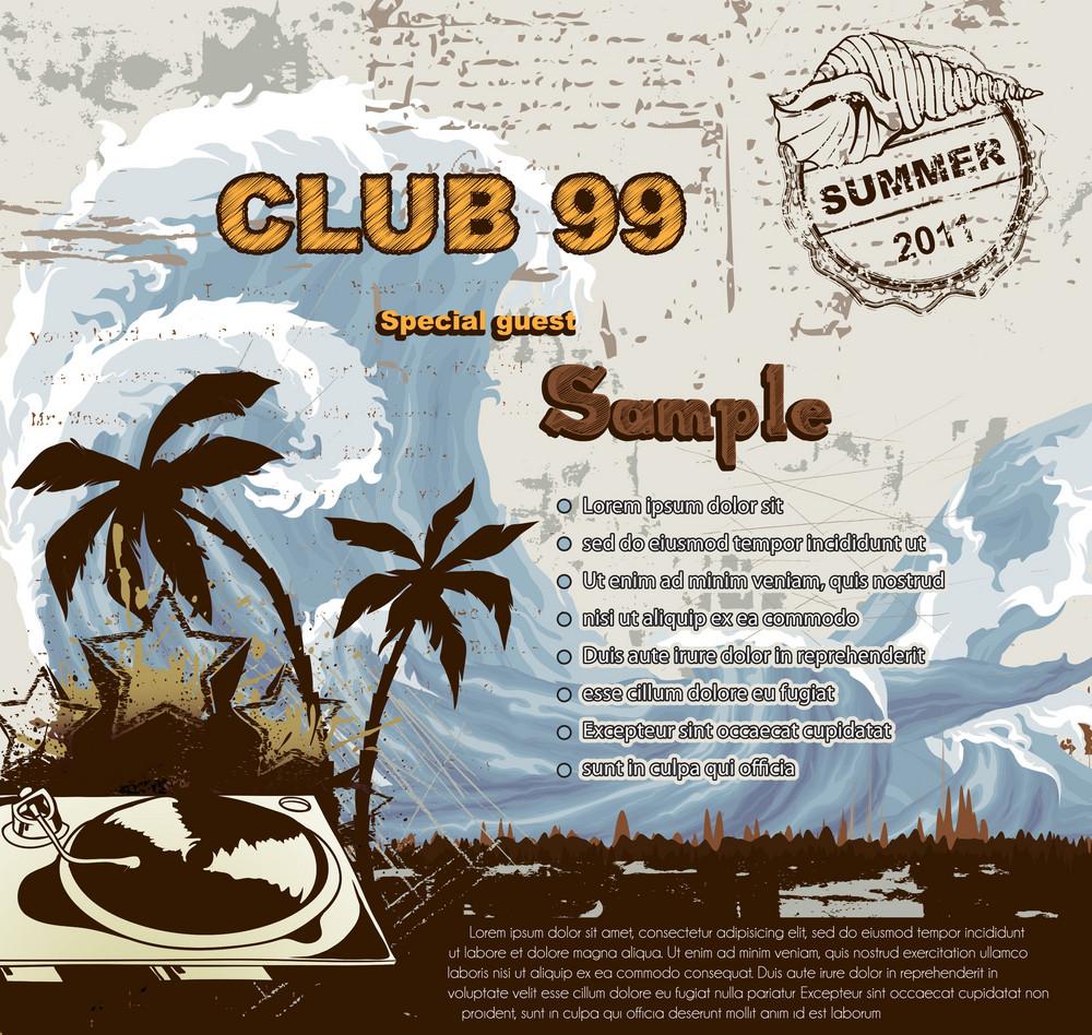 Summer Music Background Vector Illustration
