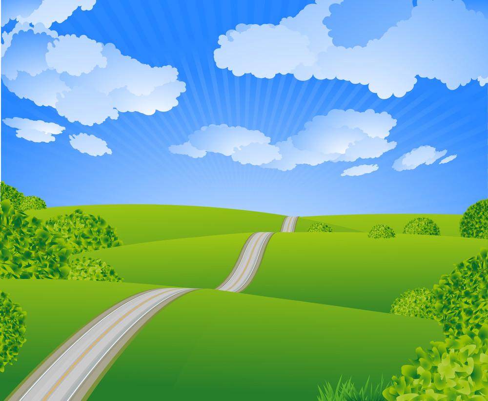 Summer Road. Vector.