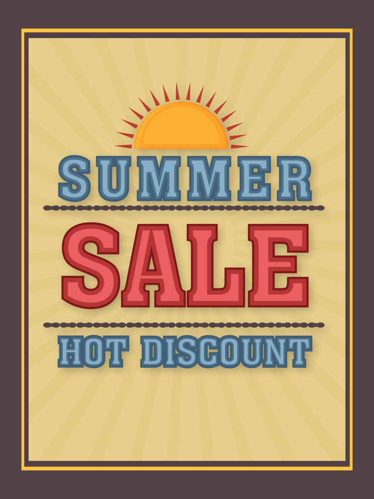 Summer Sale poster banner or flyer design with hot discount offer.