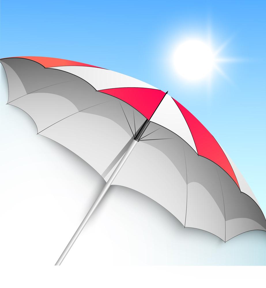 Summer Season Background With Open Umbrella.