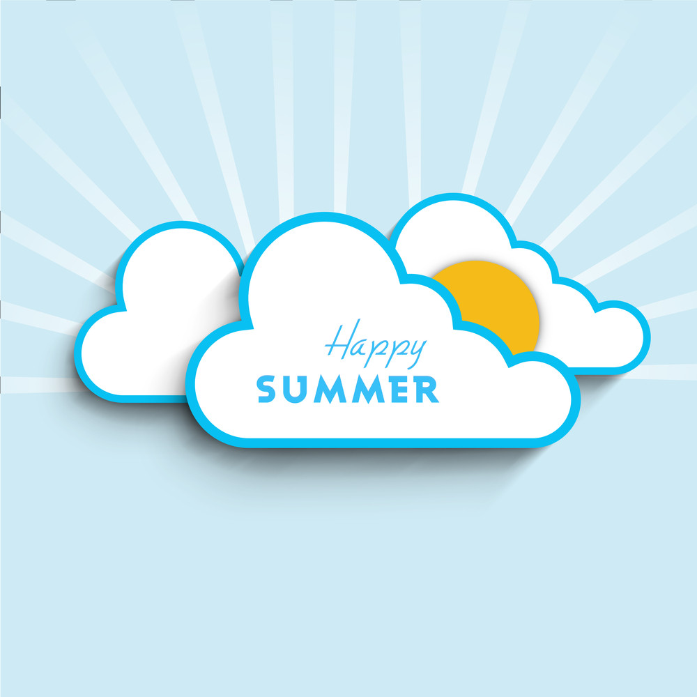 Summer Season Concept With Sun In Blue Clouds