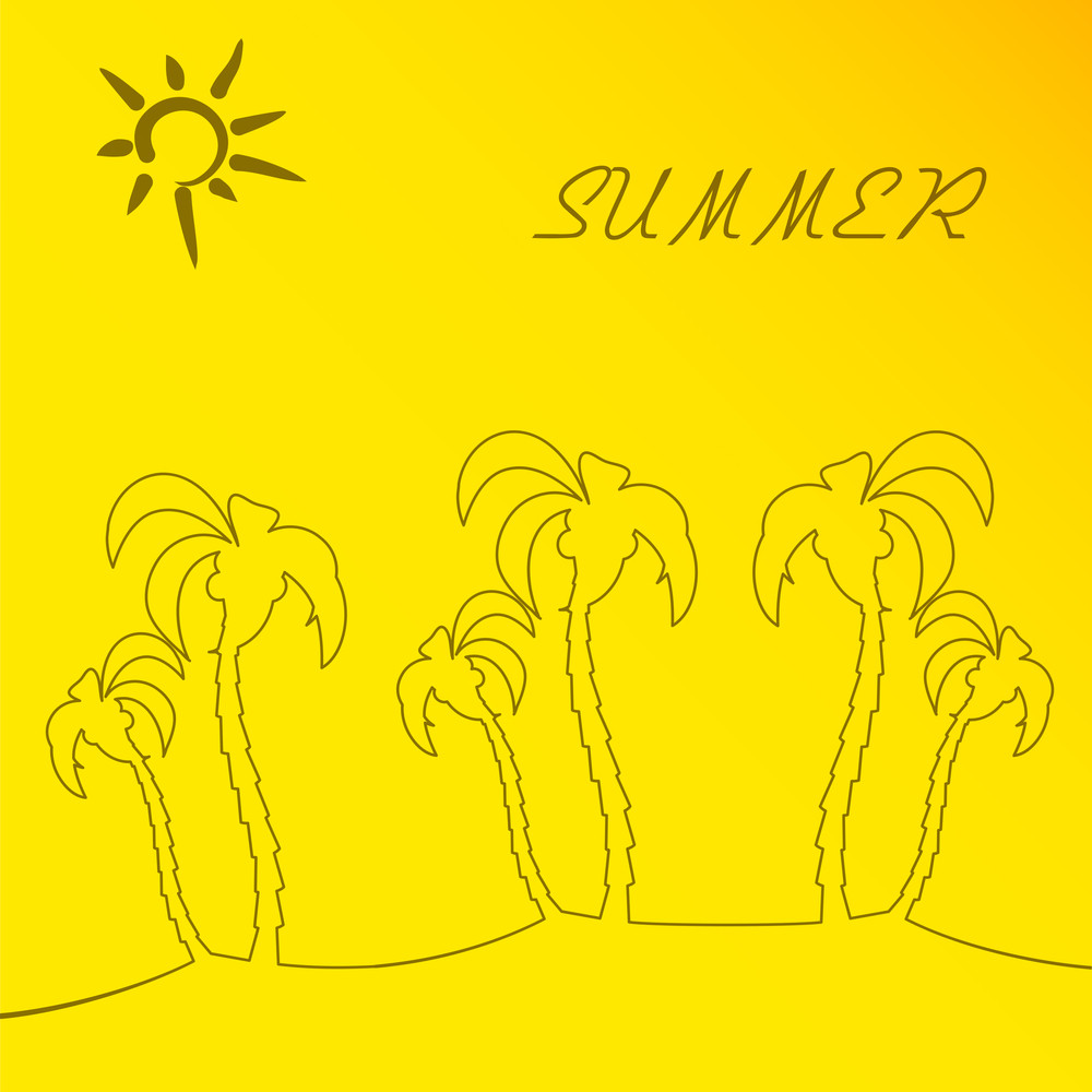 Summer Season Conept With Palm Trees Amd Sun On Yellow Background
