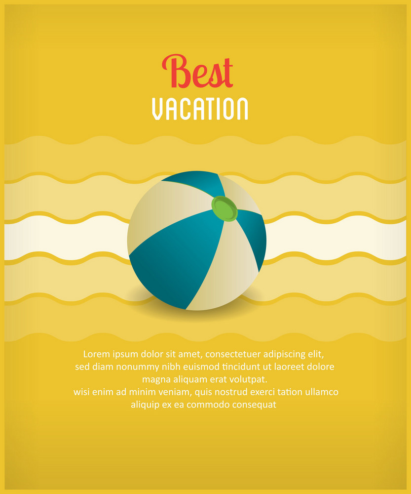 Summer Vector Illustration With Ball