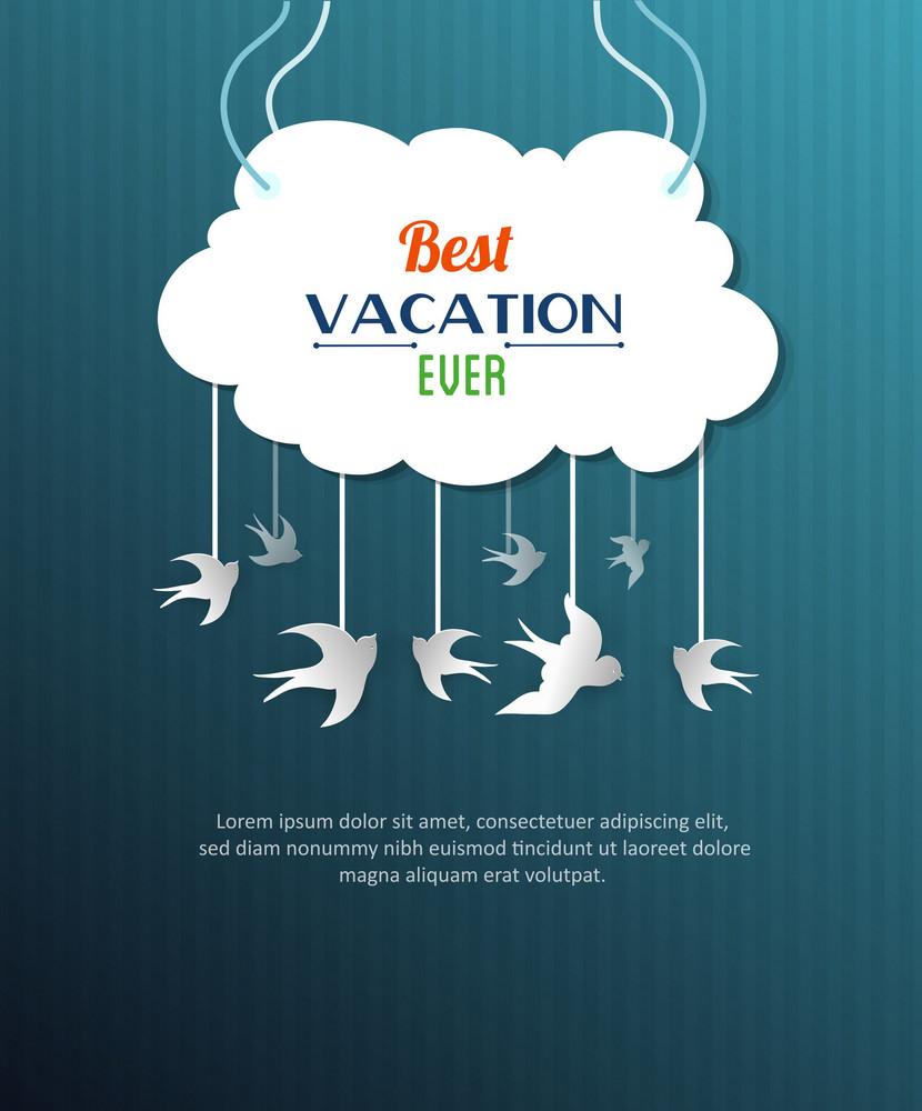 Summer Vector Illustration With Cloud, Bird