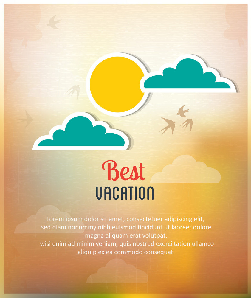 Summer Vector  Illustration With Clouds And Sun