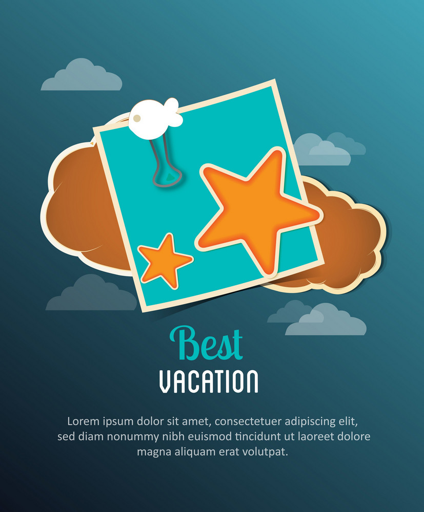 Summer Vector  Illustration With Clouds, Post It, Sea Star