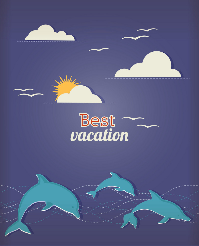 Summer Vector Illustration With Dolphin And Cloud