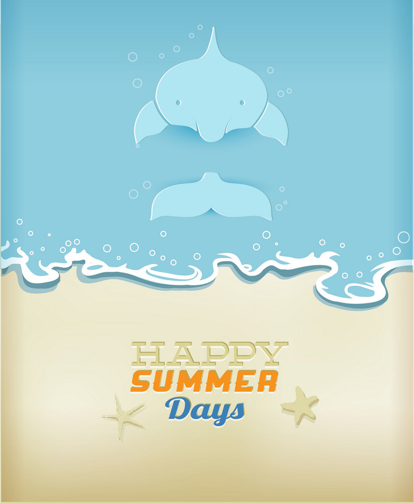 Summer Vector Illustration With Dolphin