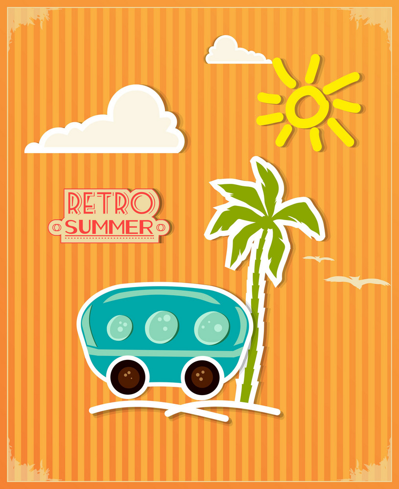 Summer Vector  Illustration With  Doodle Car, Palm Tree, Sun