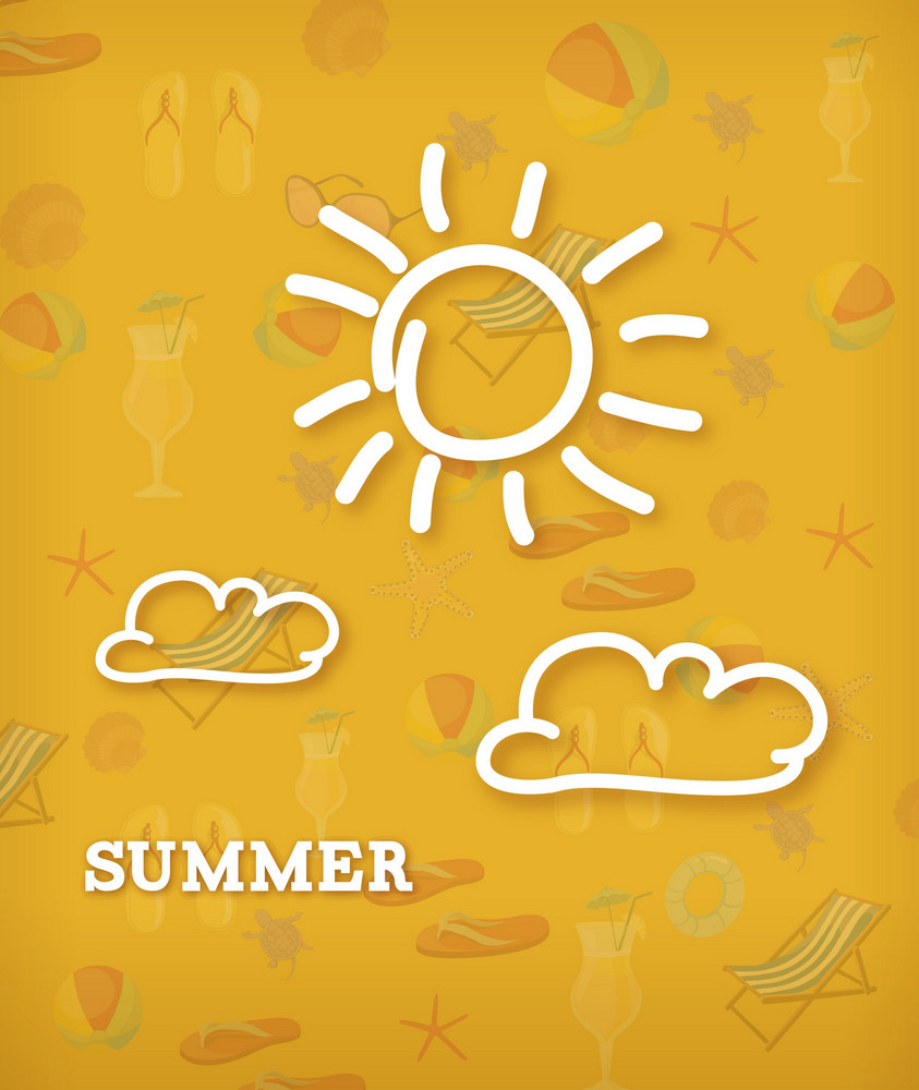 Summer Vector Illustration With Doodle Clouds And Sun