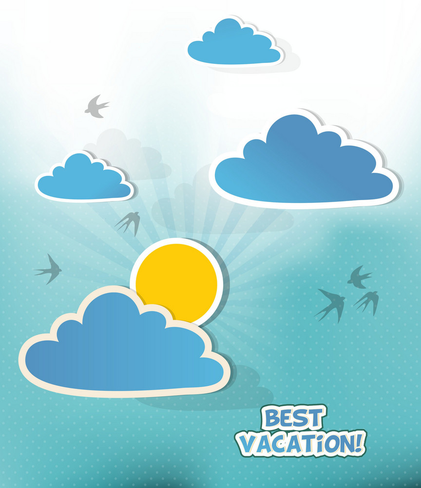 Summer Vector  Illustration With   Doodle Clouds, Birds, Sun