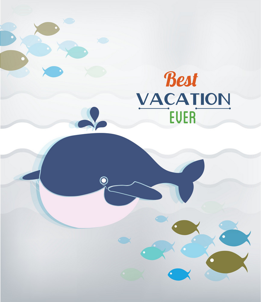 Summer Vector Illustration With Doodle Fishes, Water, Sea, Whale