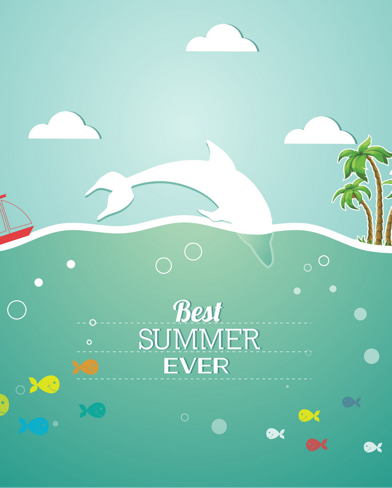 Summer Vector Illustration With Fishes, Clouds, Sun, Palm Trees, Sea, Island,sky
