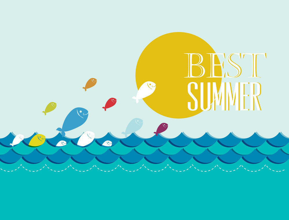 Summer Vector Illustration With Fishes, Clouds, Sun, Sea