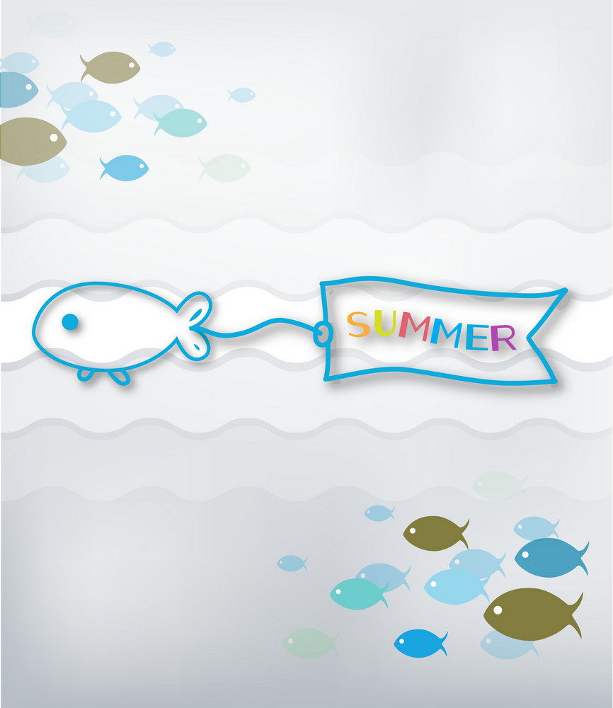 Summer Vector Illustration With Fishes, Water,