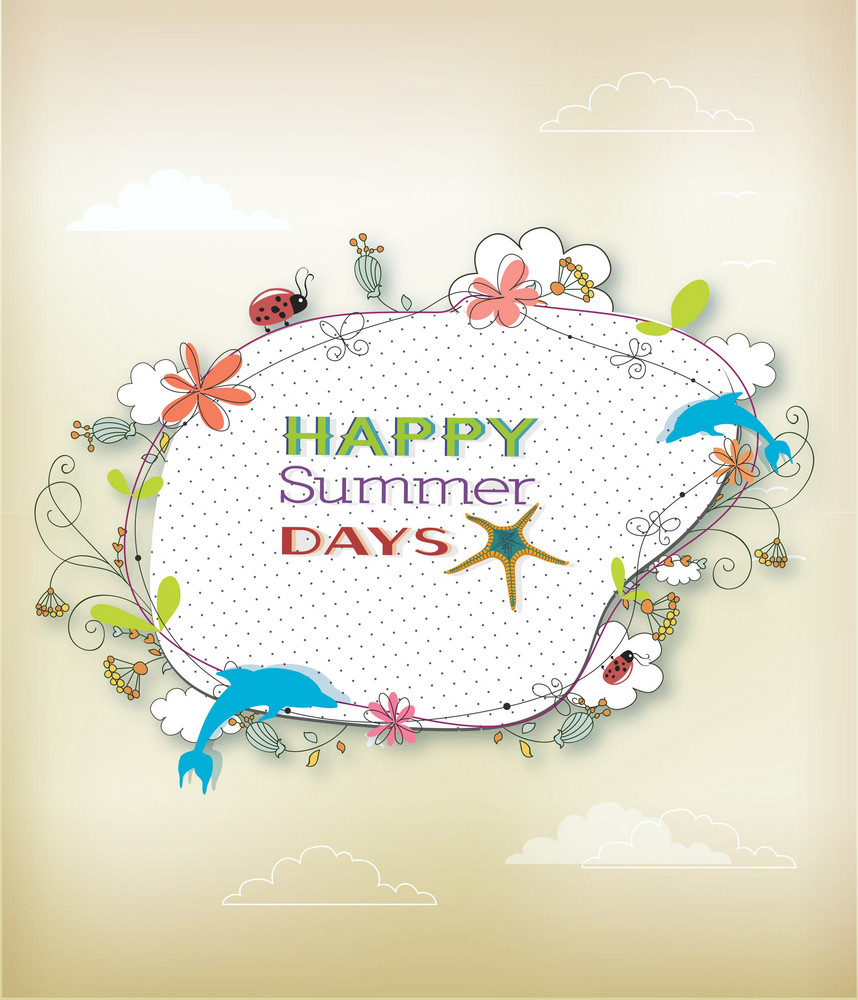 Summer Vector Illustration With Floral Frame And Dolphins
