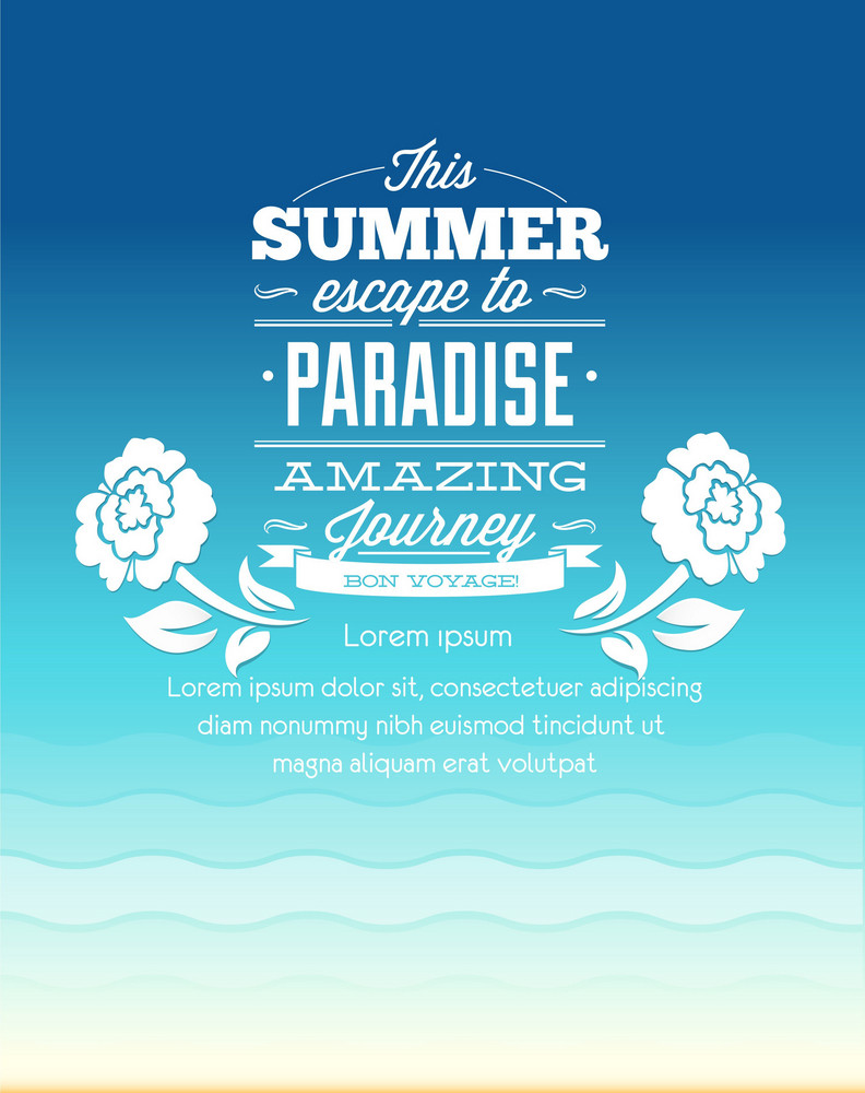 Summer Vector  Illustration With Flower