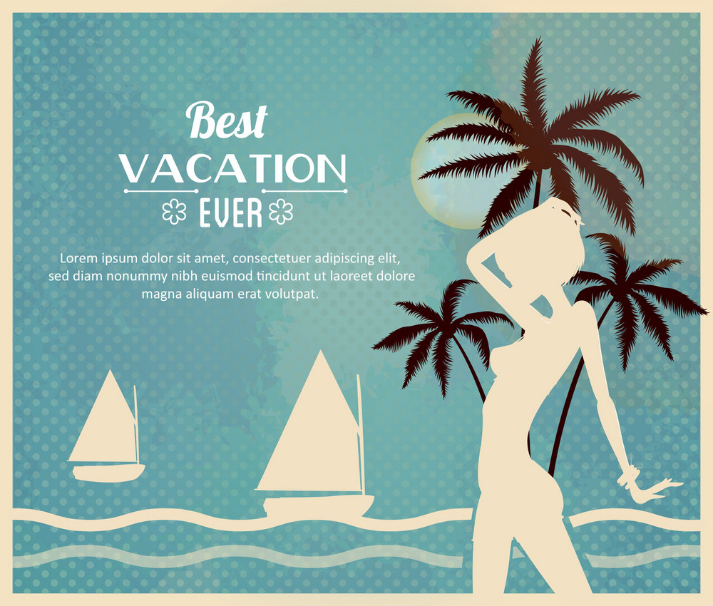 Summer Vector  Illustration With Girl, Palm Tree, Sun, Sailing Ship, Waves