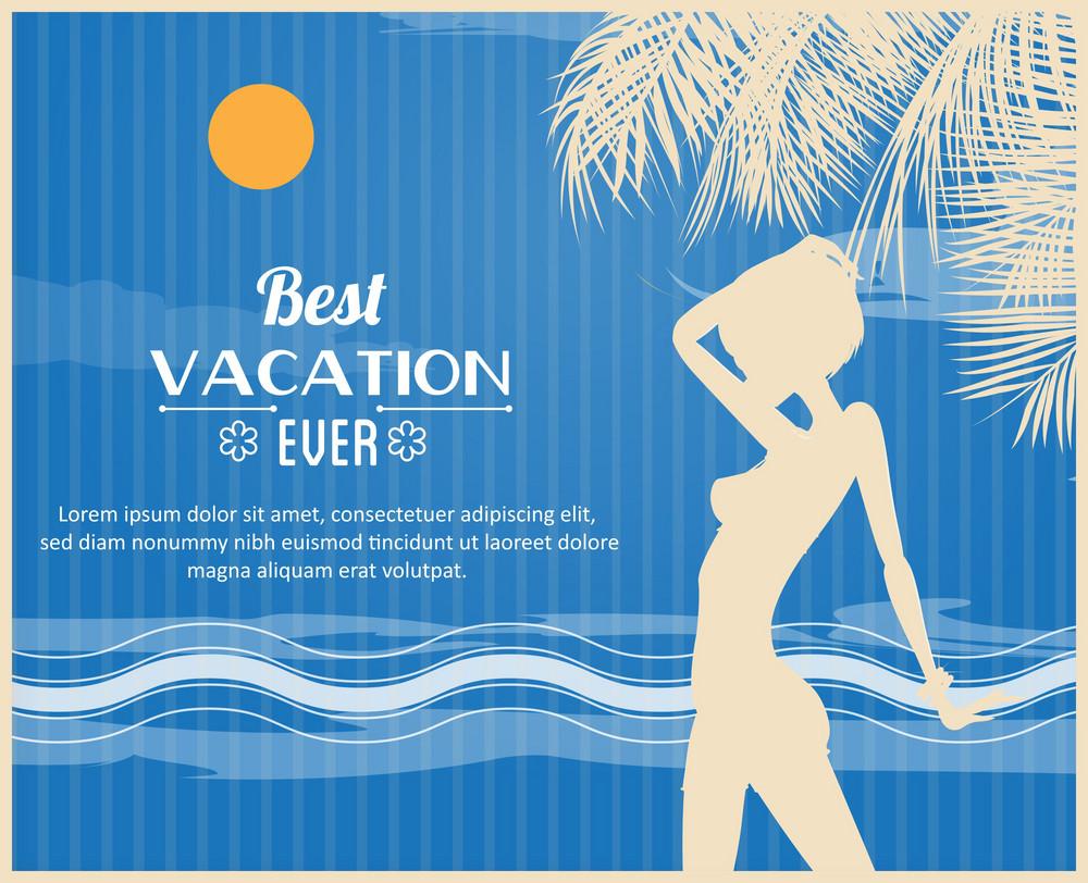 Summer Vector  Illustration With Girl, Sun, Sailing Ship, Waves