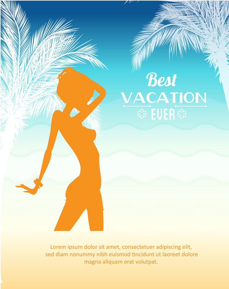 Summer Vector  Illustration With Girl, Sunset, Waves, Sea,