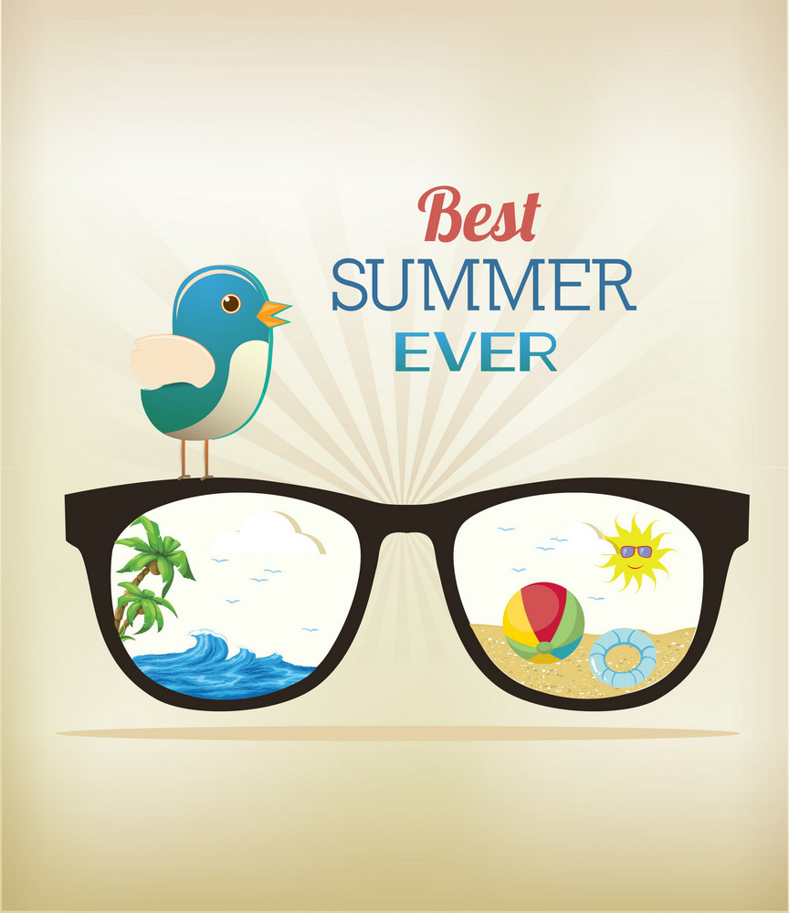 Summer Vector Illustration With Glasses, Bird, Rays, Ball, Water, Palm Tree, Sun, Sand
