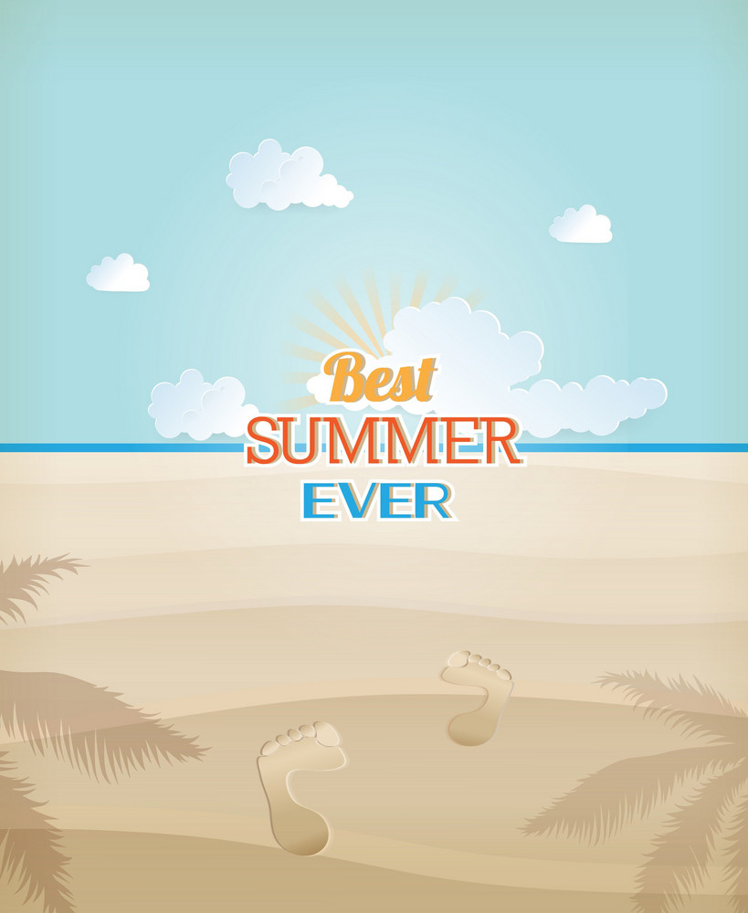 Summer Vector Illustration With Human Tracks, Sea, Sky, Clouds, Sand, Palm Tree