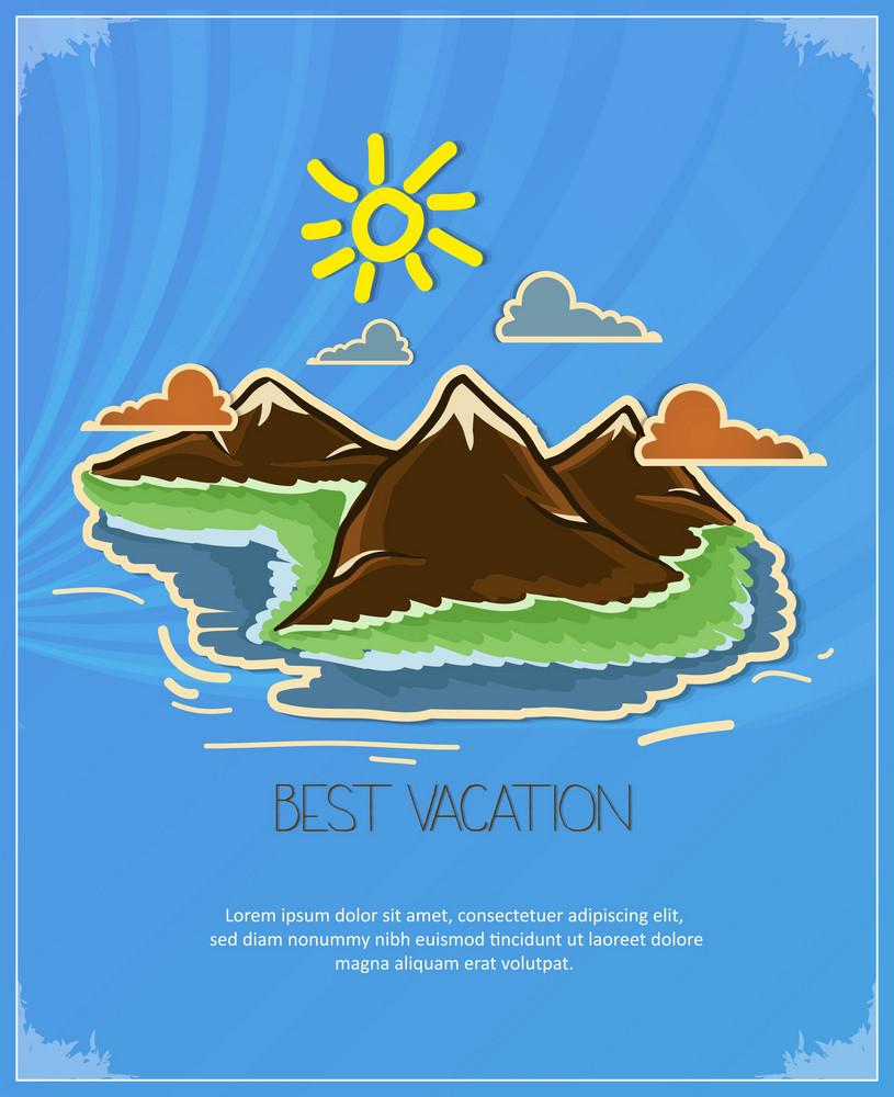 Summer Vector  Illustration With  Island