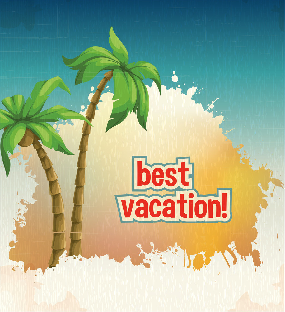 Summer Vector  Illustration With Palm Tree 2
