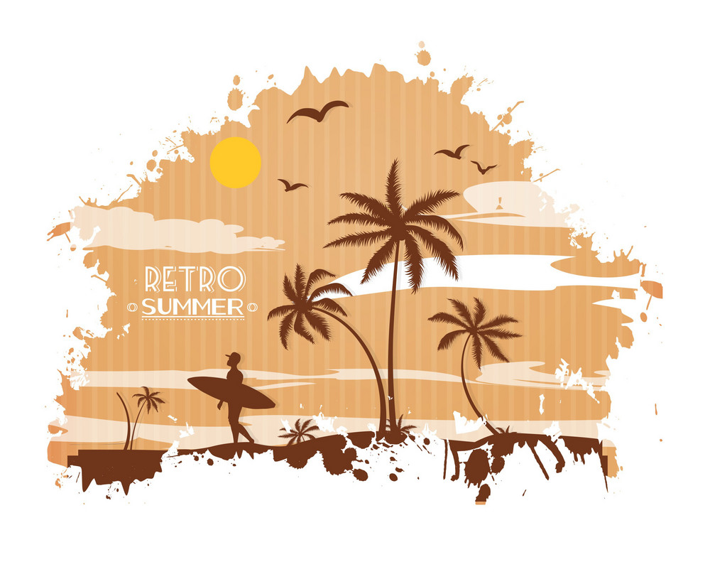 Summer Vector  Illustration With Palm Tree, Bird, Sunset, Sun, Clouds