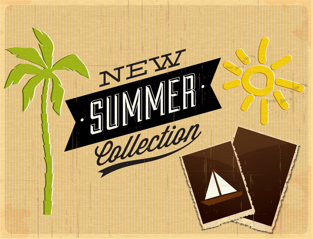 Summer Vector  Illustration With Palm Tree, Photo Frame, Sun