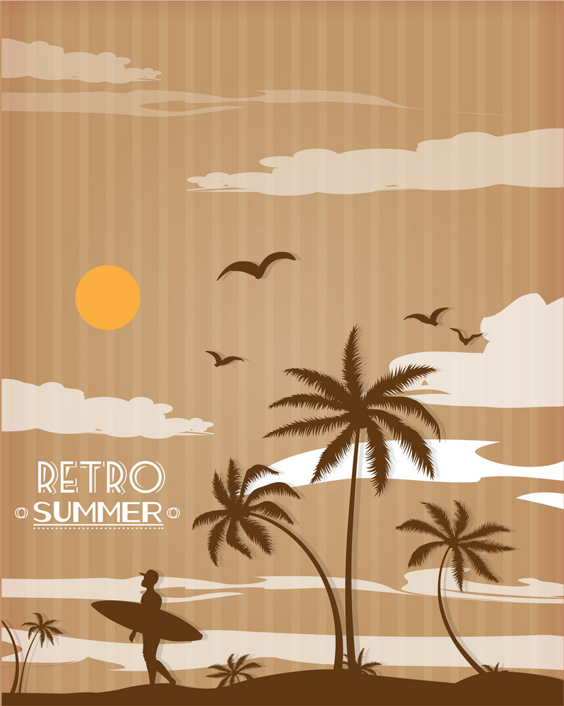 Summer Vector  Illustration With Palm Tree, Sun, Clouds,