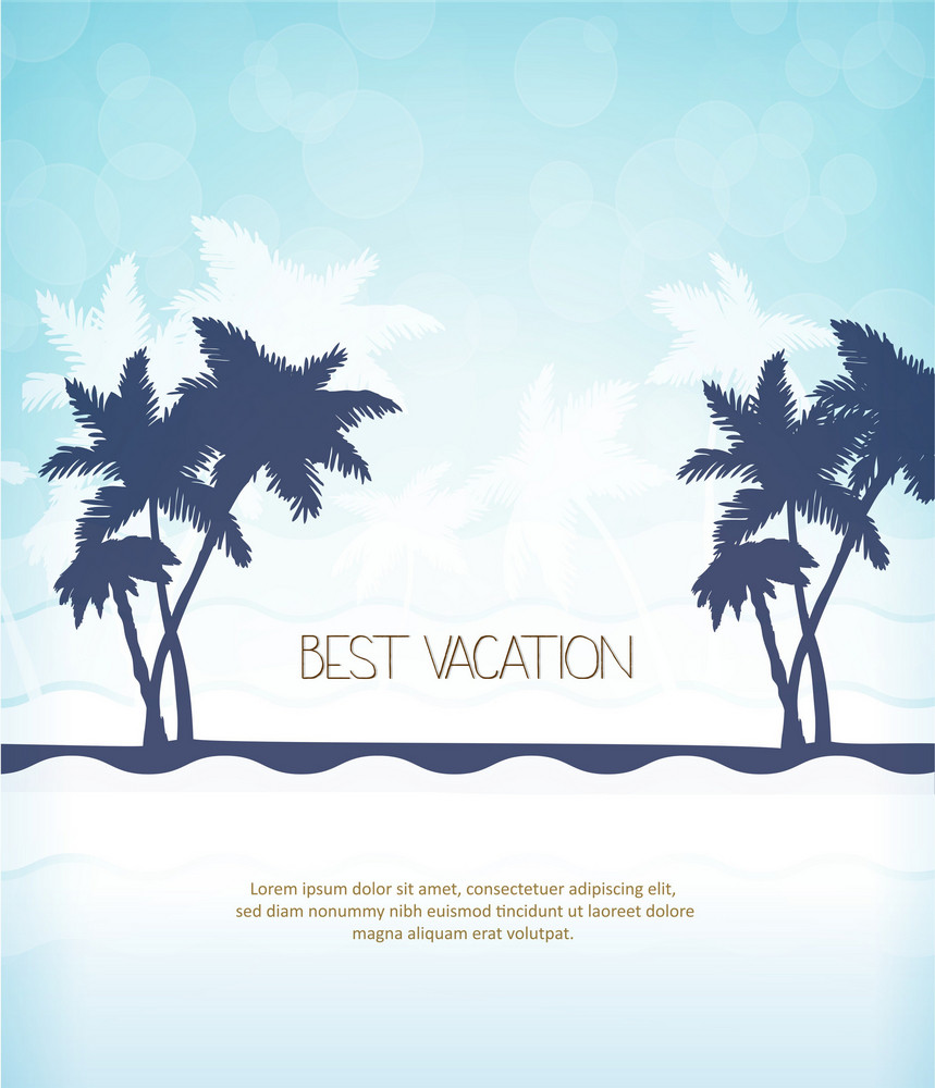Summer Vector  Illustration With  Palm Tree, Waves,
